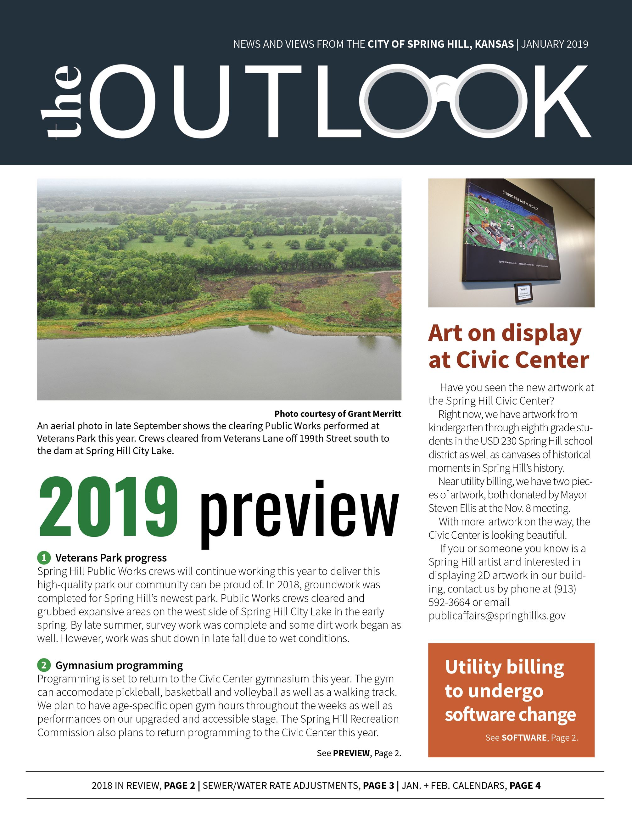 Front page of the January 2019 newsletter featuring a 2019 preview, utility billing software upgrade