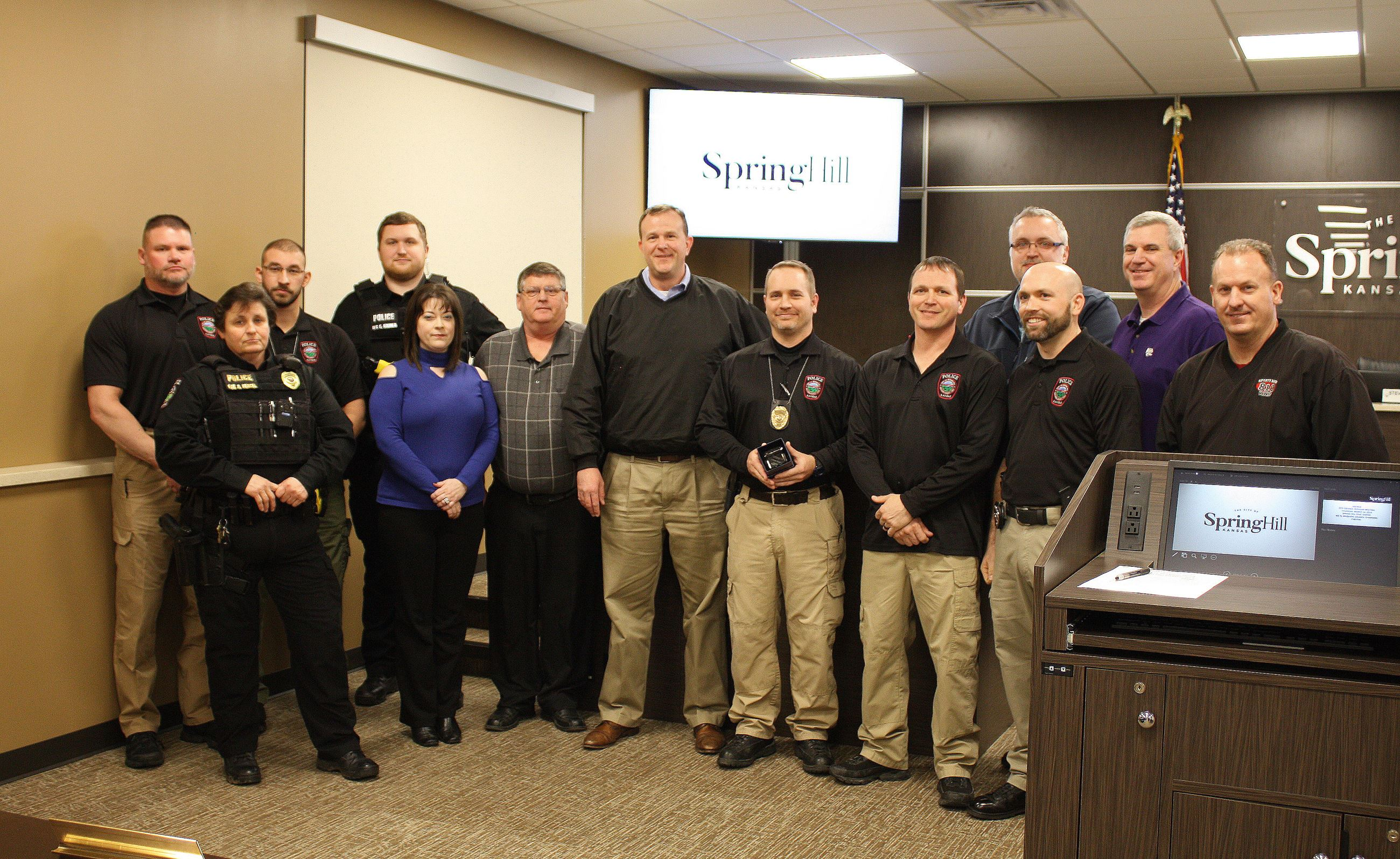 The Governing Body honored Interim Police Chief Lance Wipf for his yearlong service to the City of S