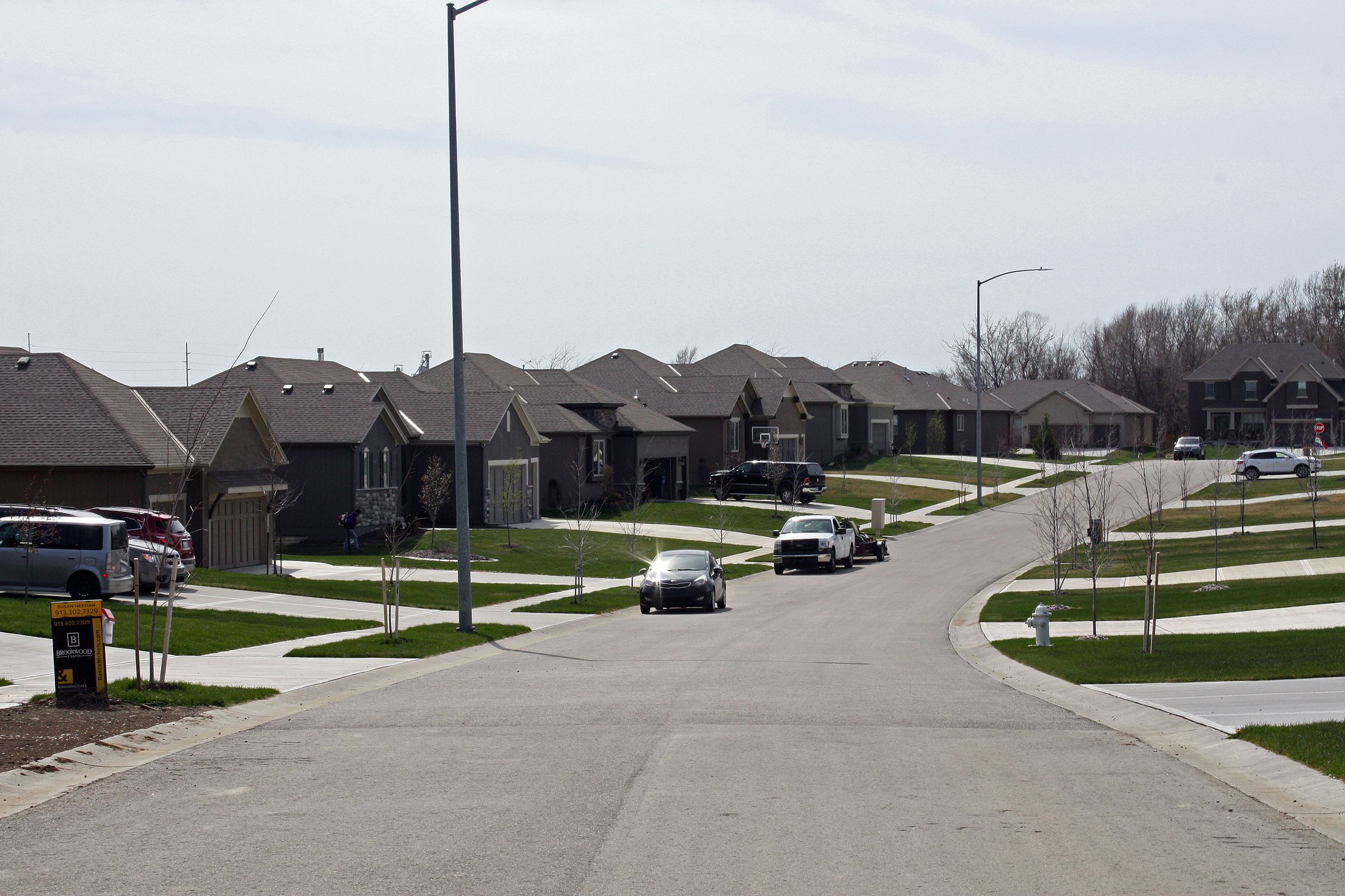 Houses line the street in the Brookwood Farms subdivision